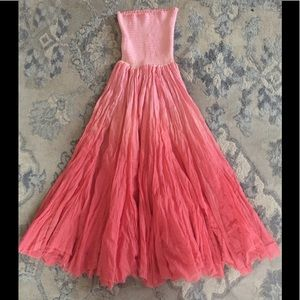 Letarte pink ombré resort dress smock maxi skirt L